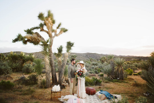 French couple and their elopement wedding in Joshua Tree national Park