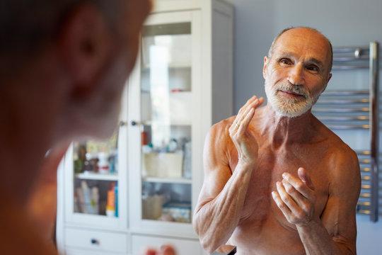 Senior man's body care