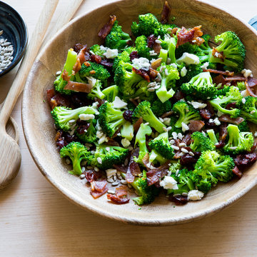 Broccoli Bacon Salad with dried cranberry, goat cheese, sunflower seeds