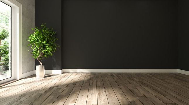 black and concrete wall empty room with wooden floor and plant 3D rendering