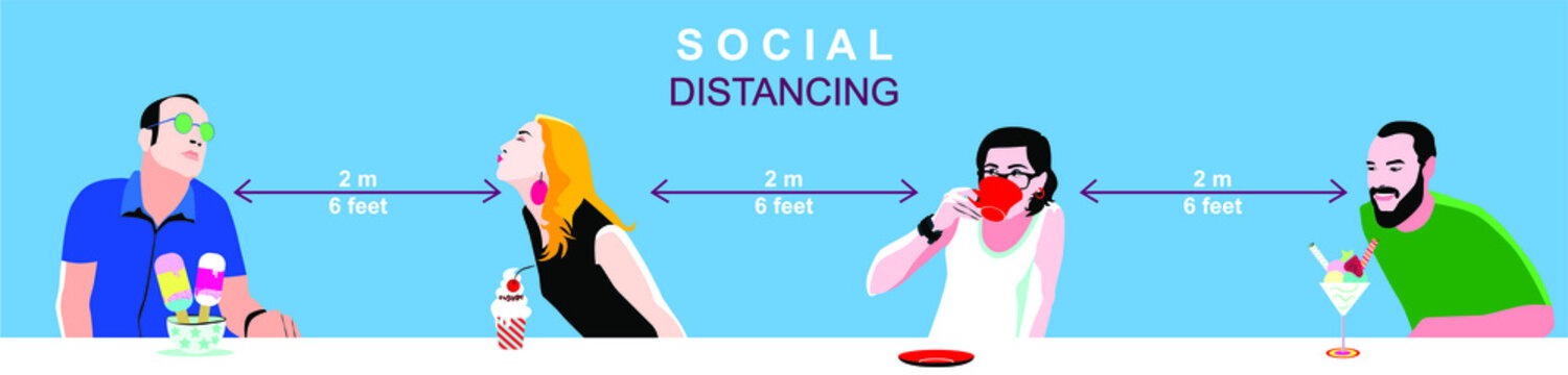Social distancing concept, man and woman, people standing away to prevent COVID-19 coronavirus disease.vector illustration.