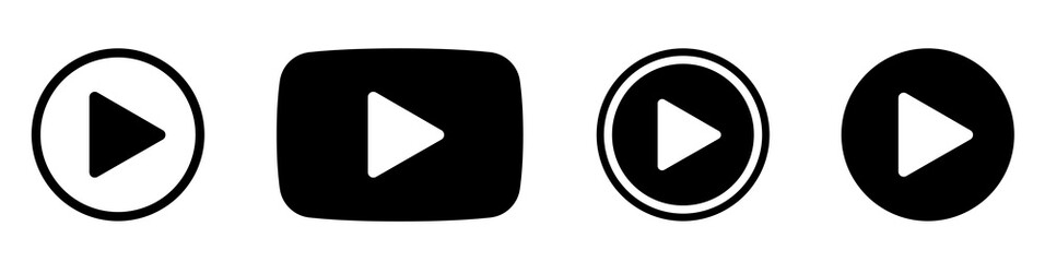 Play button сircle. Start buttons sumbol. Arrow logo. Player button flat style. Video audio player navigate collection. Game begin icon set on white beckground - stock vector.