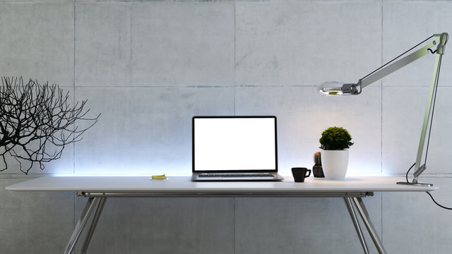 Work space stand mock up with table and plant, laptop front view concrete wall 3D rendering