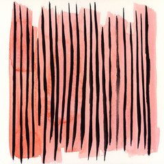 Coral And Black Colored Abstract Watercolor Painting