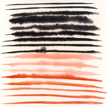 Coral And Black Layered Abstract Watercolor Painting