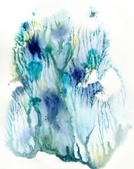 Abstract watercolor drawing in blue and green shades