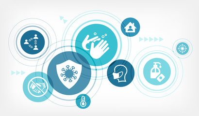 corona infection prevention vector illustration. Concept with connected icons related to hygiene and virus protection measures, how to prevent contamination and transmission. Wall mural