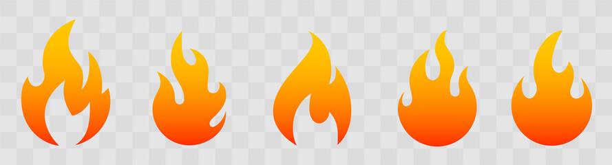 Fire icons for design. concept flame, fire, icon, vector illustration in flat style Fotomurales
