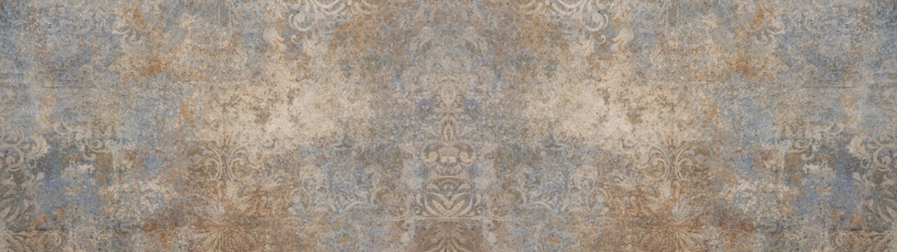 Old brown gray vintage shabby patchwork motif tiles stone concrete cement wall texture background banner