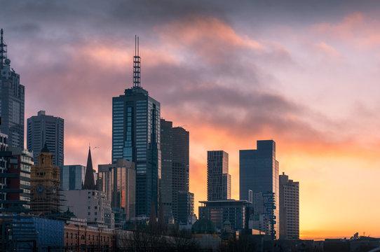 Melbourne cityscape at sunrise with Melbourne CBD skyscrapers
