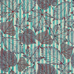 Autumn abstract transparent leaf skeleton stripe seamless pattern