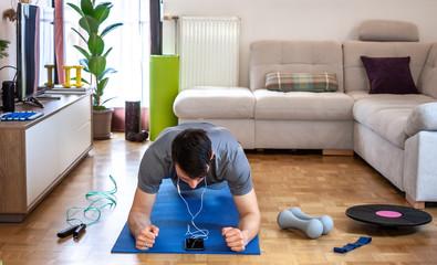 man exercising doing workout at home