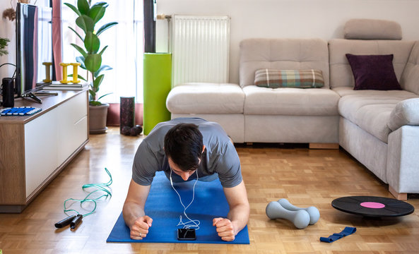 man exercising doing workout at home