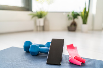 Fitness at home workout exercises online on smartphone app for training indoors at apartment with dumbbells weight and resistance bands in living room. Wall mural