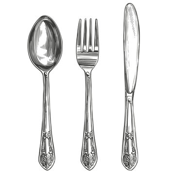 Cutlery set fork, spoon, knife, cooking, table setting hand drawn vector illustration realistic sketch