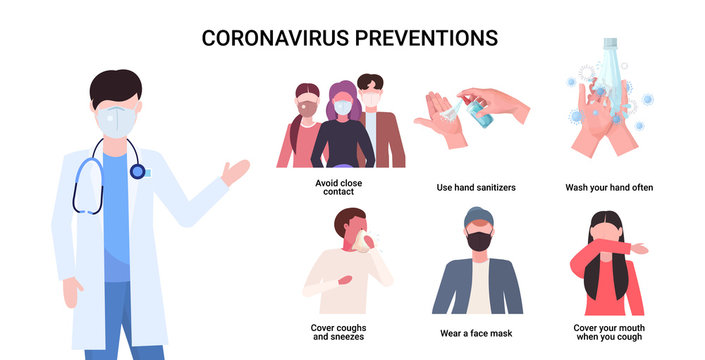 doctor explaining basic protective measures coronavirus prevention protect yourself from 2019-nCoV healthcare concept important information guidance to stay healthy horizontal vector illustration