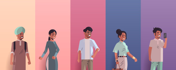 Wall Mural - set indian men women avatars smiling male female cartoon characters collection horizontal portrait vector illustration