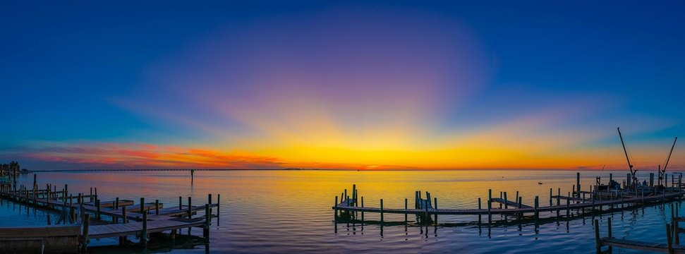 Sunset over Laguna Madre, South Padre Island TX