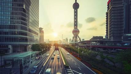 Fototapete - hyper lapse, road in Shanghai Lujiazui financial center, China
