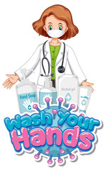 Spoed Fotobehang Kids Coronavirus poster design with word wash your hands and doctor wearing mask