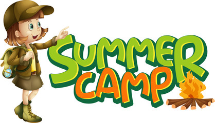 Spoed Fotobehang Kids Font design for word summer camp with girl and campfire