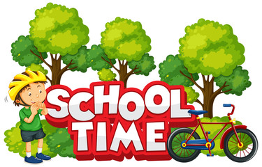 Spoed Fotobehang Kids Font design for word school time with happy boy and his bike