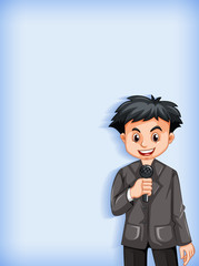 Spoed Fotobehang Kids Plain background with news reporter talking on microphone