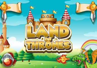 Spoed Fotobehang Kids Font design for word land of thrones with garden in background