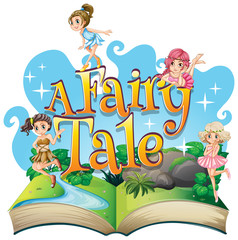 Spoed Fotobehang Kids Font design for word a fairy tale with fairies flying in garden