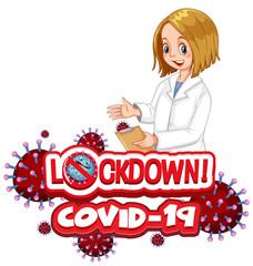 Photo sur Aluminium Jeunes enfants Coronavirus poster design with word lockdown on white background