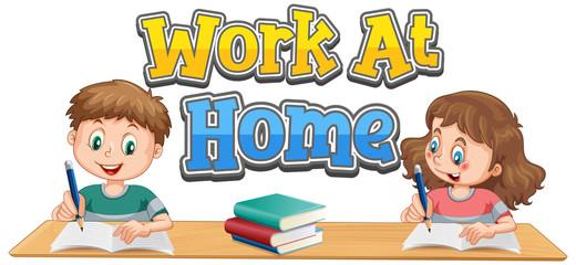 Photo sur Aluminium Jeunes enfants Work at home font design with two kids doing homework