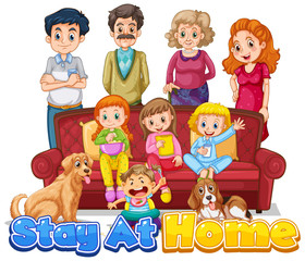 Spoed Fotobehang Kids Font design for words stay at home with happy family members