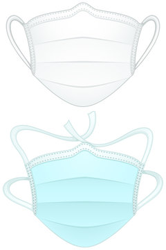 Vector illustration of two medical/surgical masks: one white with loops for ears, one blue with ties.
