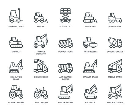 Industrial Vehicles Icons.