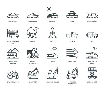 Transportation Icons, side view, part III.