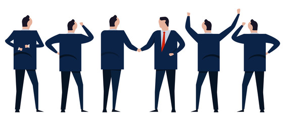 Business acquisition merger agreement deal. Group of businessman coworker employee in company corporation standing looking. Greeting handshake friendly relationship negotiation