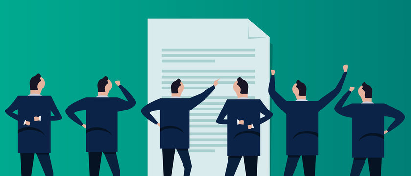 Document file standard compliance agreement paperwork guideline operation. Code of conduct group of businessman coworker employee in company corporation standing looking.
