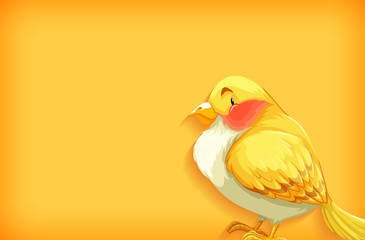 Background template with plain color and yellow bird Fototapete
