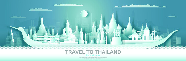 Wall Mural - Travel Thailand top world famous palace and castle architecture. Tour popular landmark of Ayutthaya and Chiang Mai by Suphannahong boat symbol of Thai. Modern business brochure design for advertising.