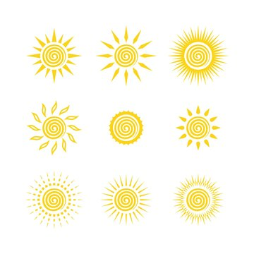 Sun yellow logo vector on white background. Sun design for weather, summer, spring.