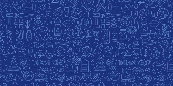 World health day. Seamless Pattern with healty lifestyle for your design