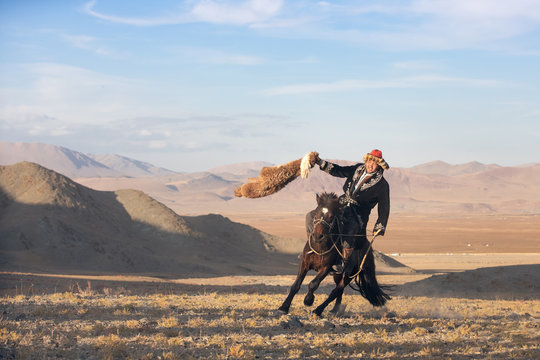 Kazakh eagle hunter after winning a traditional wrestling match. Two wrestlers on horseback start pulling on a sheep skin, the one who retrieves it, is the winner. Ulgii, Mongolia.