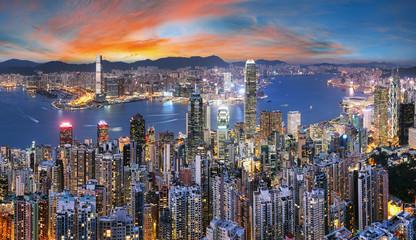 Fotomurales - Hong Kong skyline from Victoria peak at night, China