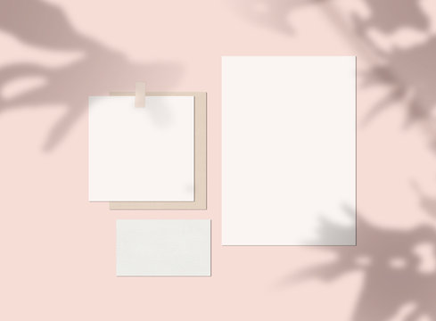 Mood Board Mock up with Shadow and Blank Papers
