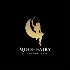 Moon and fairy logo template