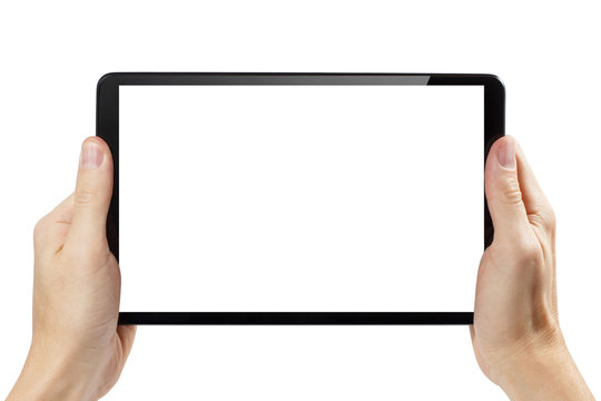 Black tablet computer in male hands, isolated on white background