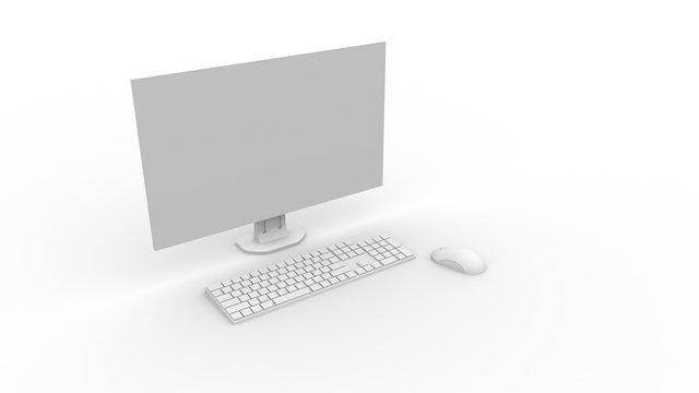デスクトップPCのCG(コンピューターグラフィック)アンビエントオクルージョン 白