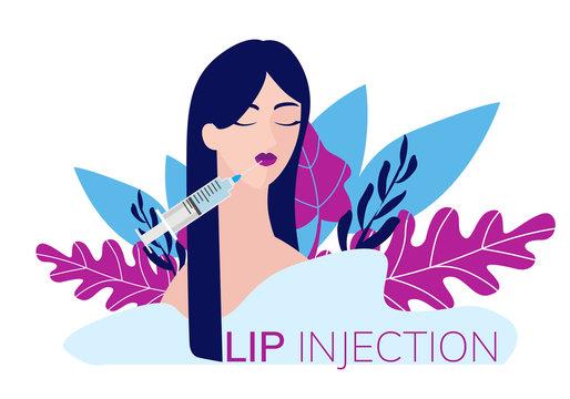 simple flat illustration of a woman, girl injecting a lip injection. Concept illustration of a cosmetology procedure.