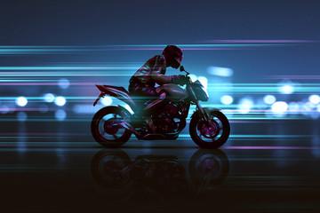 Wall Mural - Motorrad mit futuristischen Lichteffekten