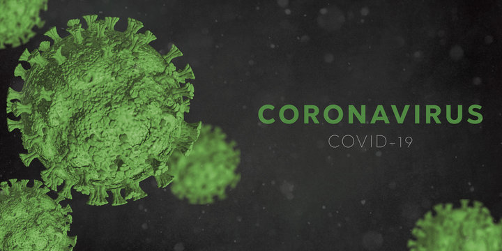 Microscopic view of Coronavirus Covid-19. Green Concept of SARS-CoV-2. Virus Infection. Medical wallpaper. 3D illustration of coronavirus. Black background.